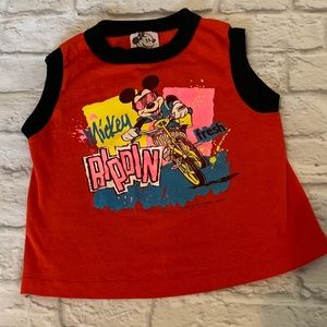 Vintage Mickey Mouse Boys Tank Top Disney Red 6